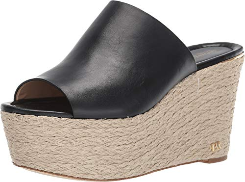 Michael Kors Cunningham Leather Woven Open Toe Wedges in Black Size 7 - Michael Kors Rubber Sole Sandals