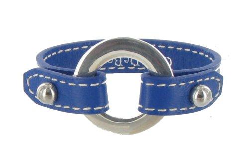 Les Poulettes Bijoux - V Bracelet Cuir et Maille Rondelle Argent 925 - Cuir Bleu Foncé