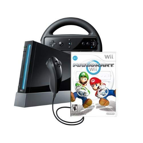 Wii Console with Mario Kart Wii Bundle - Black (Renewed)
