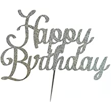 Handmade Happy Birthday Cake Topper Decoration- happy birthday - Made in USA with Double Sided Glitter Stock (Silver)