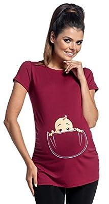 Zeta Ville - Womens Maternity T-Shirt Shirt Top Funny Baby Peeking Print - 501c