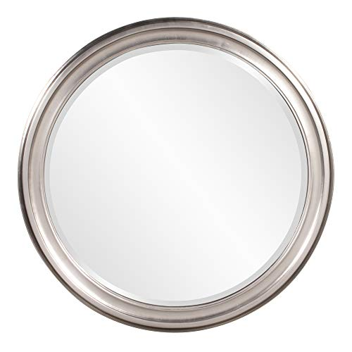 Howard Elliott George Mirror, 53045, Round, Bright Silver (Silver Large Mirror Brushed)
