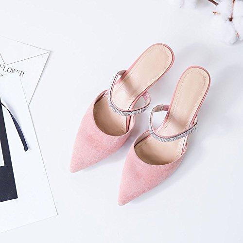 AJUNR Moda/elegante/Transpirable/Sandalias Zapatos de mujer mate cómodo y versátil zapatillas sugerencia pink 6cm high heels 37 39