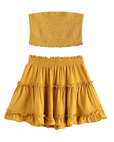 ZAFUL Women Two Piece Outfit Smocked Ruffles Bandeau Top and Skirt Set High Waist A line Mini Dress(Yellow,S)