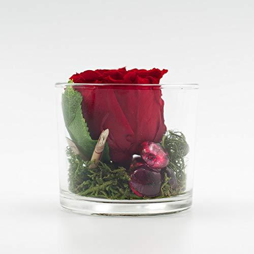 Centro de mesa con una rosa roja (conservada) en un vaso ...