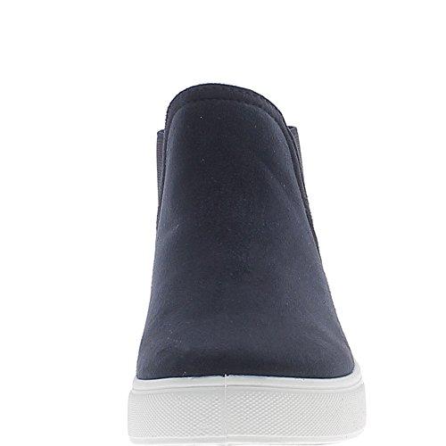 Scarpe da ginnastica scarpe donna blu Navy velluto con bianco spessa unico aspetto