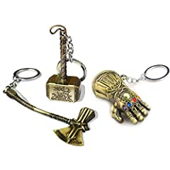 "Thanos Glove Infinity Gauntlet, Thor Hammer, Thor axe stormbreaker Keychain:★Special design symoolizes the ""the Infinity Gauntlet, Hammer, Axe"" from Marvel Comics and the Avengers.★Durable keychain with Zinc alloy, compact design and h..."