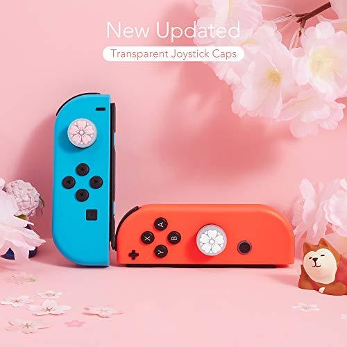 LeyuSmart Sakura Flower Translucent Thumb Grip for Nintendo Switch & Lite, Analog Stick Skin Caps, Soft Silicone Cover for Joy-Con Controller 4Pcs(Pink&White)