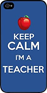 Keep Calm I'm A Teacher-Red-Apple- Hard Black Plastic Snap - On Case with Soft Black Rubber Lining-Apple Iphone 4 - 4s - Great Quality!