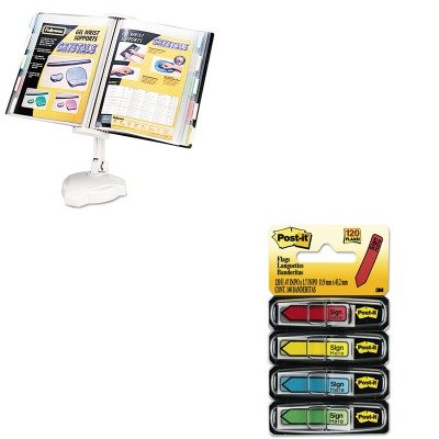 Wall Mount Copyholder - KITFEL22300MMM684SH - Value Kit - Fellowes Desktop/Wall Mount Copyholder (FEL22300) and Post-it Arrow Message 1/2amp;quot; Flags (MMM684SH)
