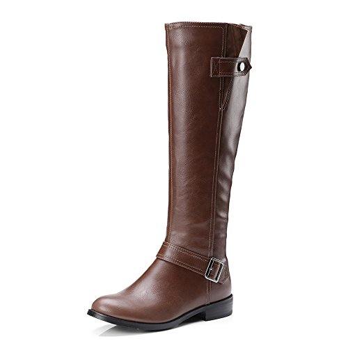 ShoeN Tale Womens Casual Knee-High Buckle Winter Riding Wide Calf Boots Brown zElyvs