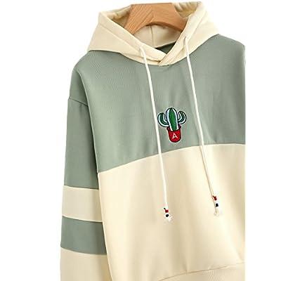 SweatyRocks Womens Long Sleeve Colorblock Pullover Fleece Hoodie Sweatshirt Tops at Women's Clothing store