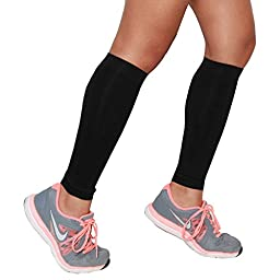 Compression Leg Sleeves – Calf Sleeves to Relieve Shin Splints, Shin Sleeve, Footless Compression Socks - Great for Running, Cycling, Traveling