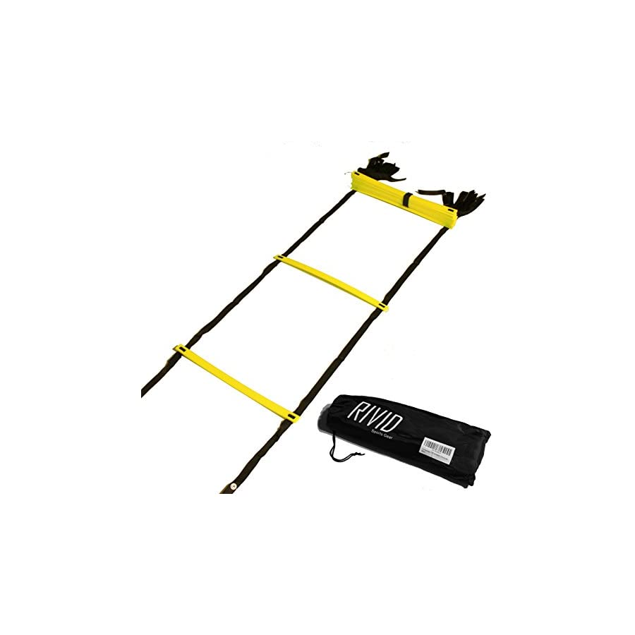 Rivid Sportsgear 12 Rung Agility Ladder For Speed with BONUS Carrying Bag