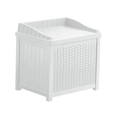 22 Gal. Resin Wicker Small Storage Seat Patio Deck Box in White Finish