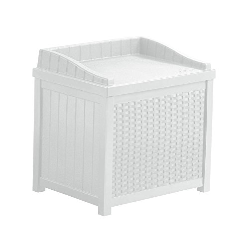 22 Gal. Resin Wicker Small Storage Seat Patio Deck Box in White ()