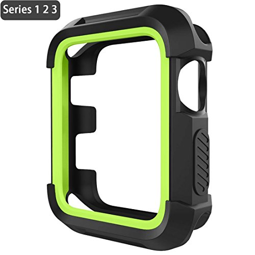 Apple Watch Case 42mm Rugged Shock Proof iwatch Bumper Cover Scratch Resistant Screen Protector Case for iwatch Series 3 Series 2 Series 1 Black/Green