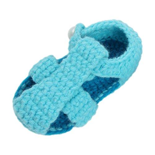 Bigood Strickschuh One Size Strick Schuh Baby Unisex süße Muster 11cm Knopf Hellblau