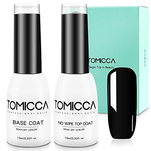 TOMICCA No Wipe Top Coat and Base Coat Set, 2x10ml Soak Off UV LED Gel Nail Polish Base and Top Coat Gel Polish Long Lasting Shine Finish (Base & Top Coat)