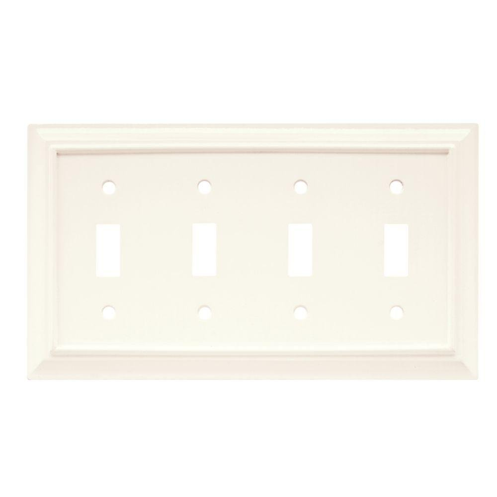 Wood Architectural 4 Toggle Wall Plate - White