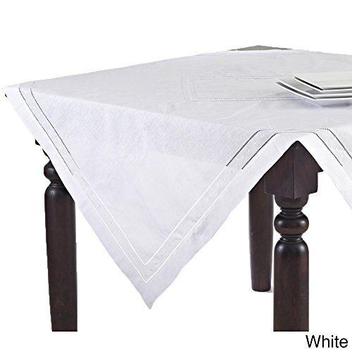 Fennco Styles Hand Hemstitched and Embroidered Swiss Dot Tablecloth (65''x120'' Rectangular, White) by fenncostyles.com