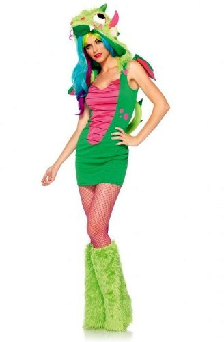 Leg Avenue Women's 2 Piece Magic Dragon Costume, Green/Pink, (Leg Avenue Dragon Costume)