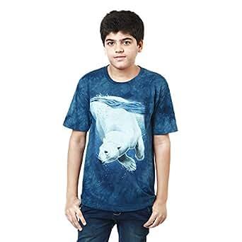 The Mountain Blue Cotton Round Neck T-Shirt For Boys
