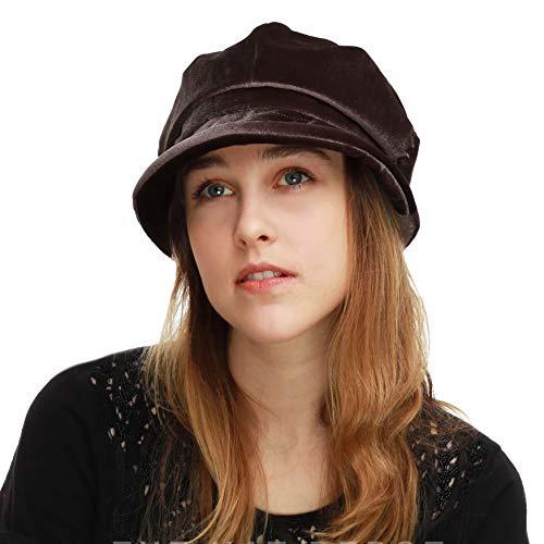 - BLACK HORN Womens Newsboy Cabbie Beret Cap Cloche Visor Hats (Velvet-Brown)