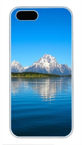 iPhone 5S Case Cover, Nature Snowy Mountain Blue Sky Peaceful Lake Cool Design Hard Case for iPhone 5s and iPhone 5 White J-15