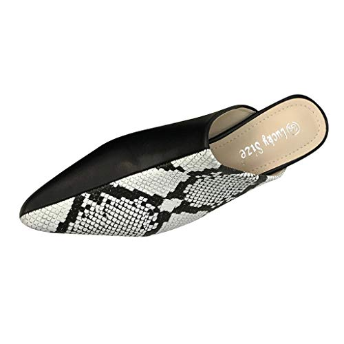 Orangeskycn Women Sandals Snake Skin Pattern Pointed Toe Shoes Summer Waterproof Platform Sandals Casual Flats Slippers -