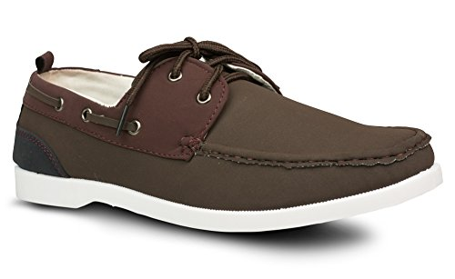 Nubuck Casual Shoes (Influence Mens Caleb Faux Nubuck Leather Casual Boat Shoe, Brown, Size 10)