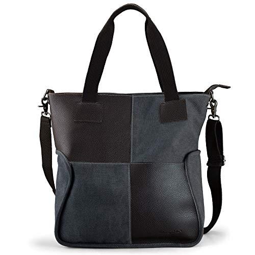 SHANGRI-LA Totes Handbag Laptop Bag for Women Large Padded Purse Canvas Shoulder Bag Top Handle Satchel Cross Body Bag – Black