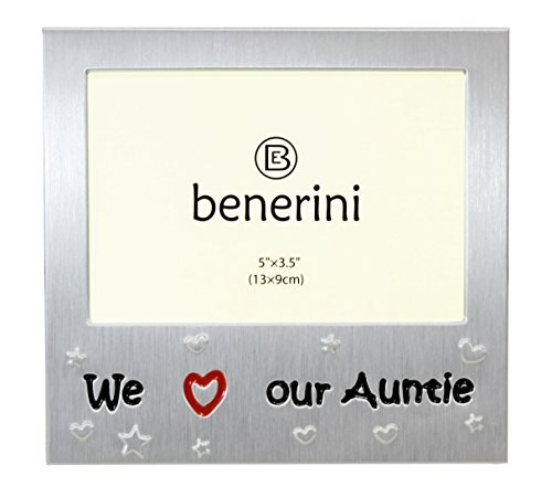 benerini We Love Our Auntie - Expressions Photo Picture Frame Gift - 5 x 3.5 - Brushed Aluminum Satin Silver Colour