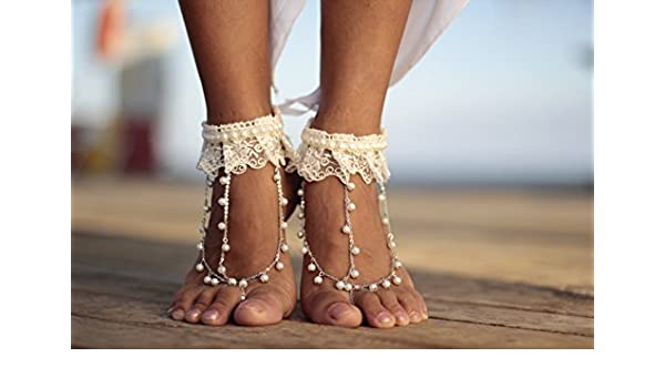 83d823f24 Amazon.com: Ivory boho dance of pearls and lace beach wedding barefoot  sandals, bangle, wedding anklet,nude shoes,boho sandal,cuff: Handmade