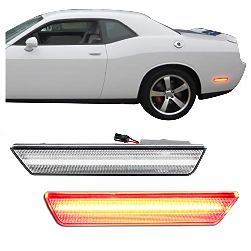 GTINTHEBOX 2PCS 3D Classic Clear Lens Red 36-SMD LED Rear Bumper Side Marker Lights Lamps Replacement Kit For 2008-2014 Dodge Challenger & 2011-2014 Dodge Charger