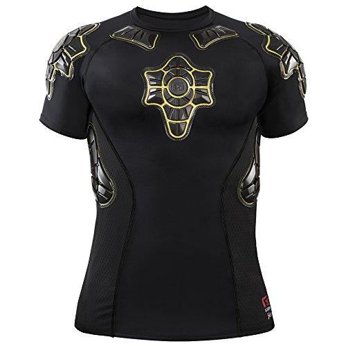 G-Form Pro-X Short Sleeve Compression Shirt, Black/Yellow, (Bike Adult Compression Shirt)