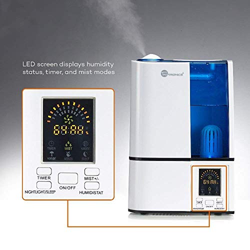 Large Product Image of TaoTronics Cool Mist Humidifier, LED Display, 4L Ultrasonic Humidifiers for Home Bedroom, Quiet Operation, Adjustable Mist Levels, 360° Nozzle, Timer, Waterless Auto Shut-Off (4L/1.06 Gallon, US 110V)