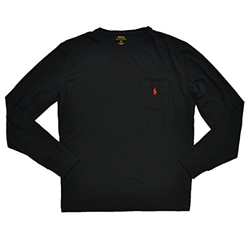 Ralph Lauren Polo Mens Classic Fit Crew Neck Pony Logo Long Sleeve Pocket Tee (Large, Black)