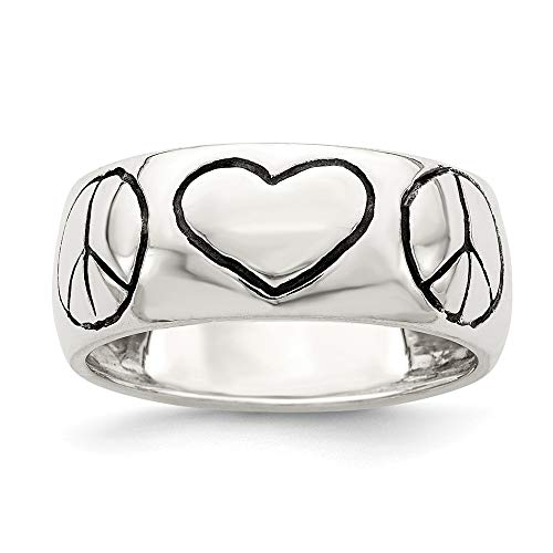 (925 Sterling Silver Finish Peace Sign Heart Band Ring Size 8.00 S/love Fine Jewelry Gifts For Women For Her)