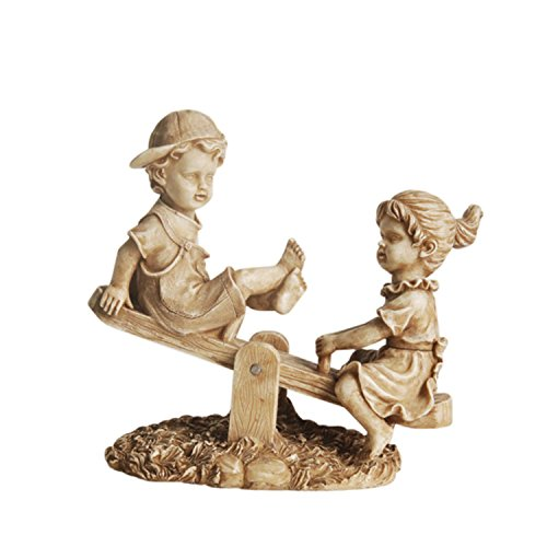 NORTHLIGHT 11.5″ Almond Colored Boy and Girl Playing on Seesaw Outdoor Patio Garden Statue