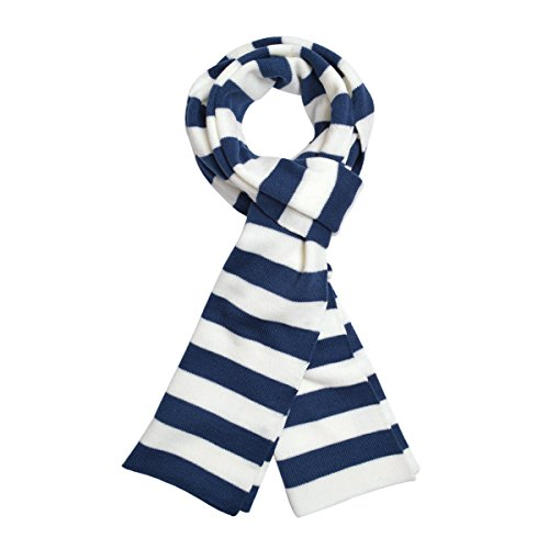 TrendsBlue Premium Soft Knit Striped Scarf, Navy