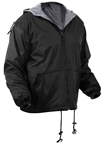 - Bellawjace Clothing Black Reversible Fleece Lined Jacket Military Hooded Nylon Coat