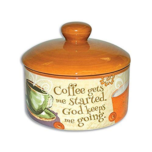 Divinity Boutique 23857 Coffee Sugar Bowl With Lid, Multicolor