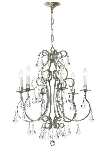 Crystorama 5016-OS-CL-MWP Crystal Accents Six Light Chandeliers from Ashton collection in Pwt, Nckl, B/S, Slvr.finish, ()