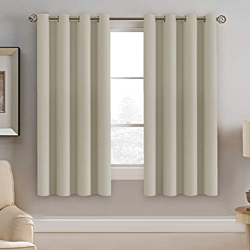 - H.VERSAILTEX Window Treatment Blackout Curtains 63 inches Length, Thermal Insulated Room Darkening Solid Grommet Curtains/Drapes for Bedroom/Living Room - 1 Panel, Cream