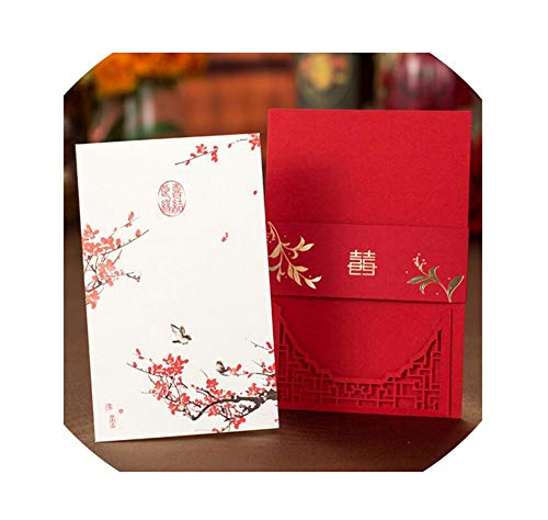 50pcs Chinese Red Plum Blossom Invitation Card Envelope Printable Inner Sheet Wedding Decoration Supplies,Cover And Inner Card -