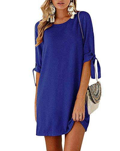 Kidsform Women Mini T-Shirt Dress Self-tie Half Sleeves Solid Crew Neck Tunics Summer Shift Dresses Royal L