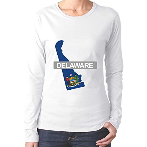 Porpanay Woen's Delaware State Round Neck Long Sleeve Casual T-Shirt Tops -