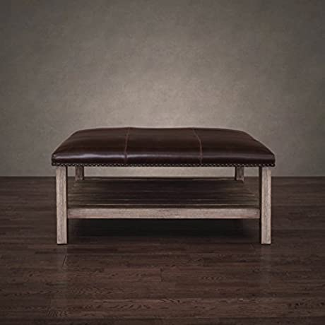 Antonio Vintage Tobacco Leather Coffee Table Solid Wood Ottoman