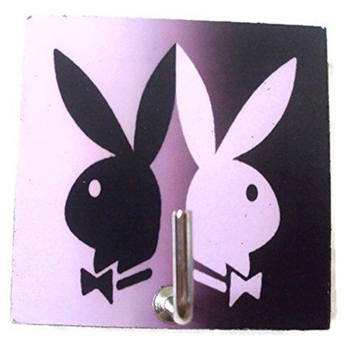 Agility Bathroom Wall Hanger Hat Bag Key Adhesive Wood Hook Vintage Playboy Rabbit's Photo